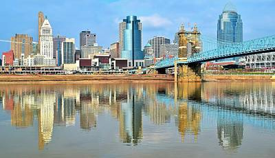 Cincinnati Skyline Reflects Art Print