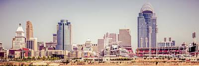 Cincinnati Skyline Retro Panorama Picture Art Print by Paul Velgos