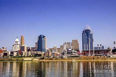 Greater Cincinnati Photograph - Cincinnati Skyline Riverfront Downtown Office Buildings by Paul Velgos