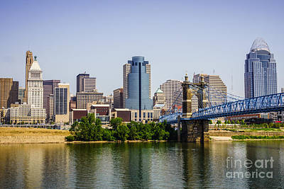 Roebling Bridge Photograph - Cincinnati Skyline With Roebling Bridge by Paul Velgos