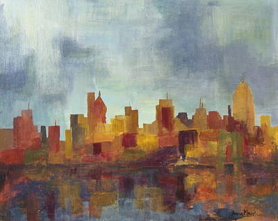 Cincinnati Skyline Painting - Cincinnati Storm by Anna Mair