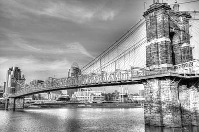 Photograph - Cincinnati Suspension B/w by Mark Bowmer