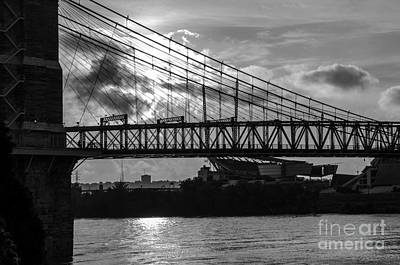 Photograph - Cincinnati Suspension Bridge Black And White by Mary Carol Story