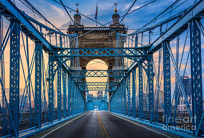 Roebling Bridge Photograph - Cincinnati Suspension Bridge by Inge Johnsson