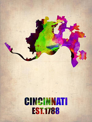 Poster Painting - Cincinnati Watercolor Map by Naxart Studio