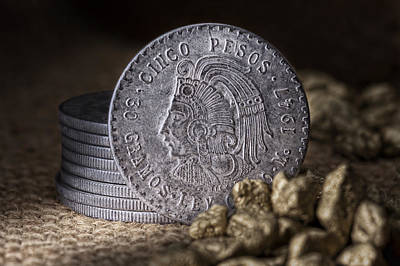 Coins Photograph - Cinco Pesos Still Life by Tom Mc Nemar