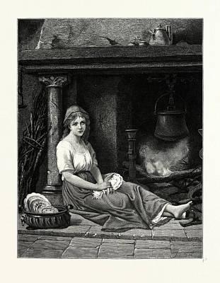 Cinderella In The Corner. After Bertrand Art Print by English School