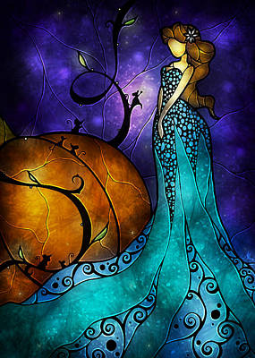 Stained Glass Panels Painting - Cinderella by Mandie Manzano