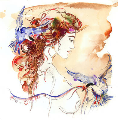 Print featuring the painting Cinderella Story by Anna Ewa Miarczynska