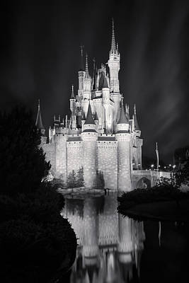 Amusement Parks Photograph - Cinderella's Castle Reflection Black And White by Adam Romanowicz