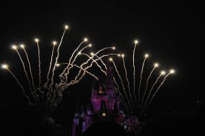 Photograph - Cinderella's Castle White Fireworks by Robert  Moss