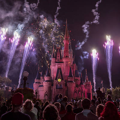 Illuminated Photograph - Cinderella's Castle With Fireworks by Adam Romanowicz