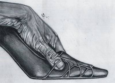 Old Tv Drawing - Cindrella's Shoe by Bobby Dar