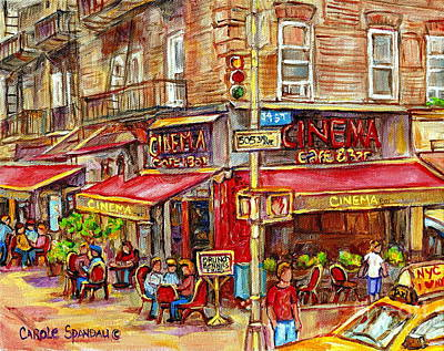 Streetscenes Painting - Cinema Cafe Bar 34th Street Manhatten New York Paintings Paris Style Sidewalk Bistros Cityscenes  by Carole Spandau