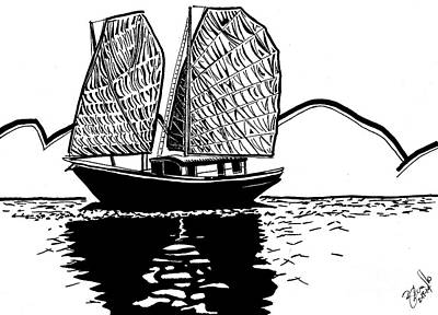 Hong Kong Drawing - Chinese Junk by Andrew Cravello