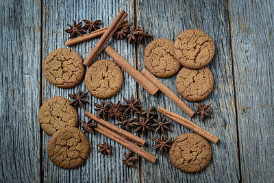 Background Photograph - Cinnamon Sticks Star Anise And Gingersnap Cookies On Rustic Woo by Brandon Bourdages