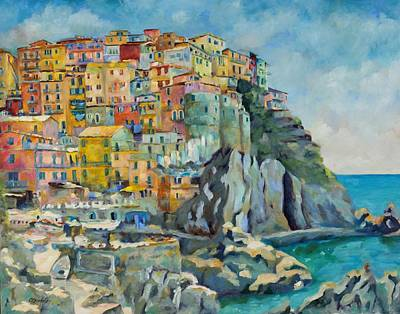Mediterranean Sea Wall Art - Painting - Cinque Terre by Chris Brandley