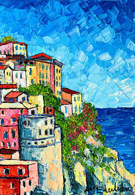 Cinque Terre Italy Manarola Painting Detail 3 Print by Ana Maria Edulescu