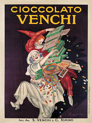 Black Clown Painting - Cioccolato Venchi by Leonetto Cappiello