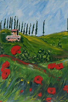 Tuscan Hills Painting - Cipressi E Collina  by Seonaid  Ross