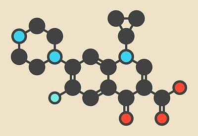 Anthrax Photograph - Ciprofloxacin Antibiotic Drug Molecule by Molekuul