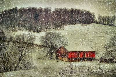 Red Barn In Snow Digital Art - Circa 1855 by Lois Bryan