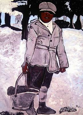 Painting - Circa 1900 Boy In The Woods 2 by Saundra Myles