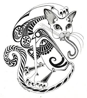 Abstract Shapes Drawing - Circle Cat by Melinda Dare Benfield