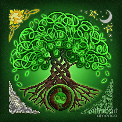 Mixed Media - Circle Celtic Tree Of Life by Kristen Fox