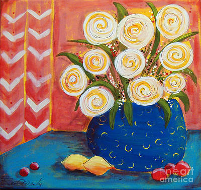 Painting - Circle Flowers With Chevrons by Lee Owenby