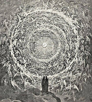 Wall Art - Drawing - Circle Of Angels Dante's Paradise Illustration by