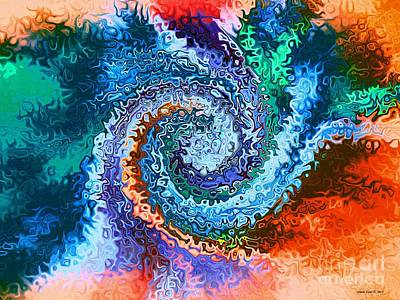 Art Print featuring the digital art Circle Of Colors Abstract Art by Annie Zeno