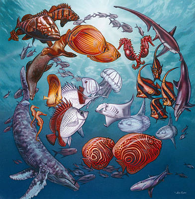 Circle Of Ocean Life Art Print by Larry Taugher