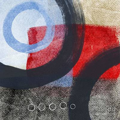 Red White Painting - Circles 1 by Linda Woods