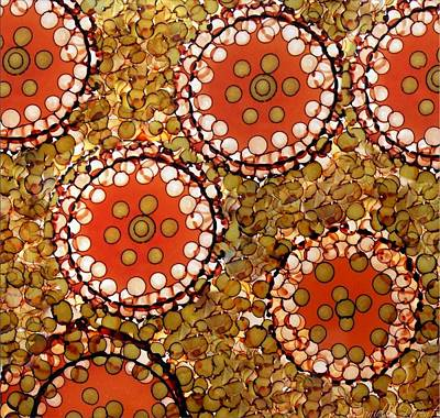 Painting - Circles And Dots Abstract Alcohol Inks by Danielle  Parent