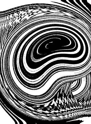 Concentration Digital Art - Circles Geomatric Black White Art No.37 by Drinka Mercep