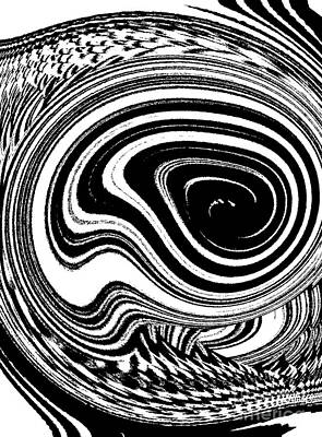 Concentration Digital Art - Circles Geometric Black And White Art No.38 by Drinka Mercep