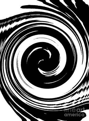 Concentration Digital Art - Circles Geometric Black White Art No.38 by Drinka Mercep