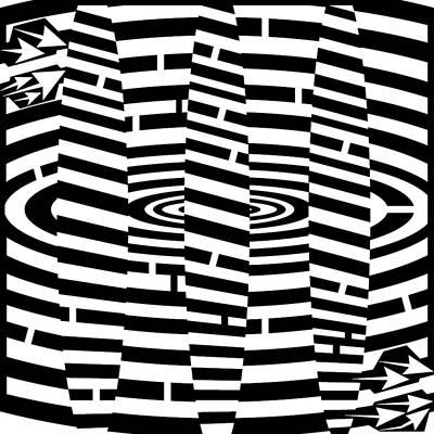 Optical Illusion Maze Drawing - Circles Maze  by Yonatan Frimer Maze Artist