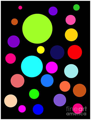 Circles On Black Art Print