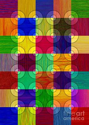 Colored Pencil Abstract Painting - Circles Over Squares by David K Small