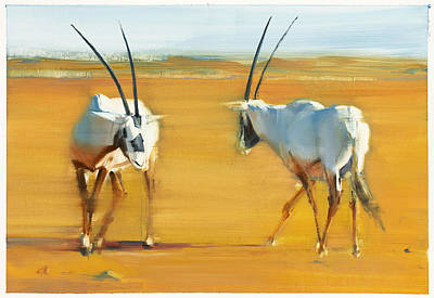 On Paper Painting - Circling Arabian Oryx by Mark Adlington