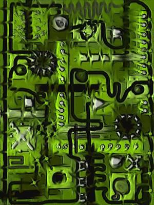 Digital Art - Circuit Board Abstract In Green by Barbara St Jean