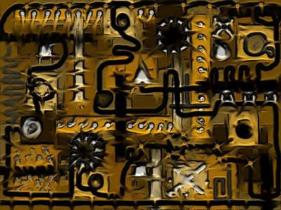 Digital Art - Circuit Board Abstract In Yellow by Barbara St Jean