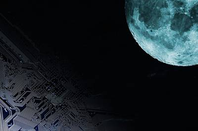 Circuit Board And Moon Art Print by Christian Lagerek/science Photo Library