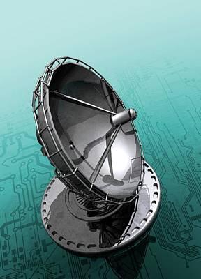Circuit Board And Satellite Dish Art Print