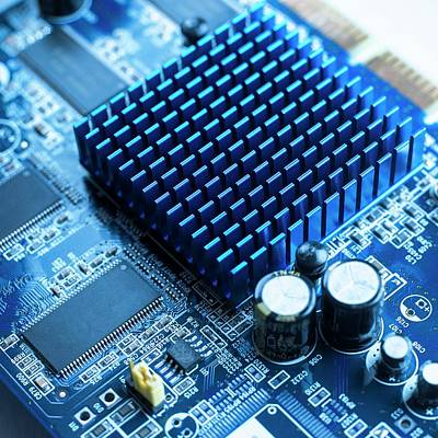 Circuit Board Photograph - Circuit Board Heat Sink by Science Photo Library