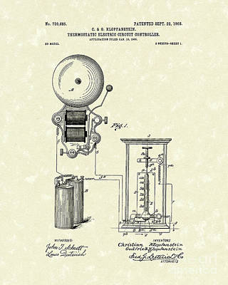 Drawing - Circuit Control 1903 Patent Art by Prior Art Design