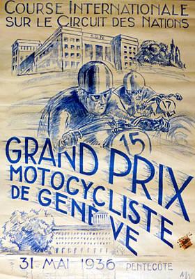 Bike Racing Digital Art - Circuit Des Nations 1936 by Georgia Fowler