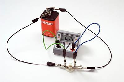 Electronics Photograph - Circuit With Bulb And Voltmeter by Trevor Clifford Photography